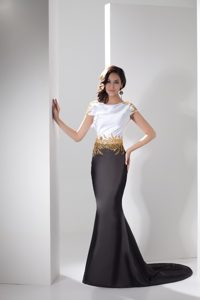 Trumpet Prom Gown in White and Black with Gold Beadings