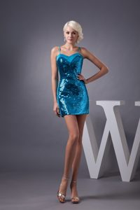 Mini-length Prom Dress with Paillette and Spaghetti Straps in Blue