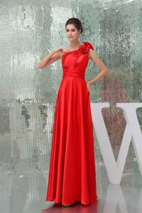 Flowers Accent One Shoulder Floor Length Red Prom Gown Dresses