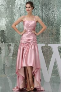 Pink High-low Prom Dress For 2013 with Spaghetti Straps