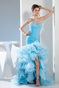 High-low Style Mermaid Prom Dress in Aqua Blue with Beading