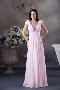 Beaded and Ruched Baby Pink Prom Gown Dresses with Cap Sleeves