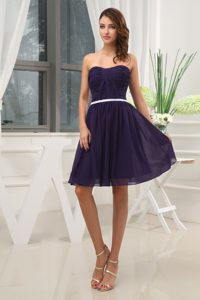Ruched Dark Purple Chiffon Mini Prom Gown Dress with White Belt