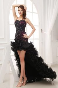 Beading and Ruffles Decorated Prom Dress in High-low Style