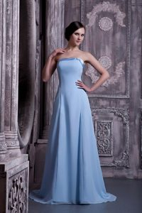 Light Blue A-line Chiffon Prom Gown Dress with Brush Train 2014