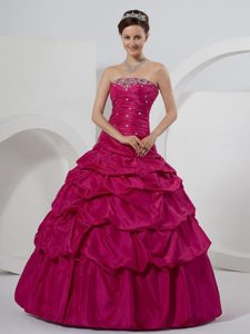 New Ruched and Beaded Dresses for a Quince with Pick-ups in Fushcia