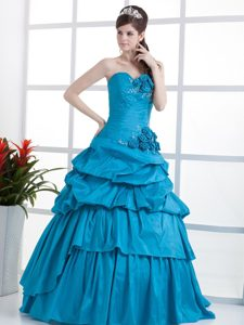 Teal Ruched Sweet 16 Dresses Sweetheart Hand Made Flowers in Belem