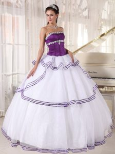 Recommended Purple and White Quinceanera Gown Dresses Strapless