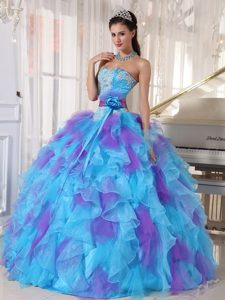 Organza Ruffled Quinceanera Dress Strapless with Sash for Porto Alegre