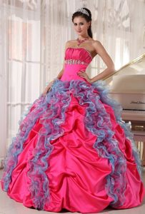 Sweet Beaded Bodice Quinceanera Dresses Gowns Ruffles and Pick-ups