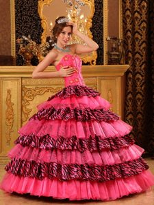 Impressive Beaded Quinceanera Dresses Gowns Organza Zebra Printed
