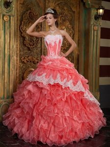 Graceful Watermelon Strapless Organza Ruffled Dress for 15 Appliques