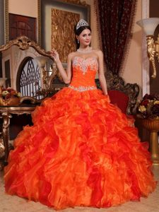 Organza Sweetheart Sweet 15 Dresses Beading and Appliques in Vogue