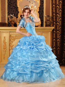 Dashing Blue Ball Gown Sweetheart Quinceanera Gowns with Appliques