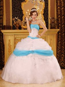 Gorgeous Lace up Back Dress for Quinceanera Appliques in Organza
