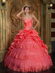Pretty Sweetheart Quinceanera Dress Appliques with Pick-ups and Layers