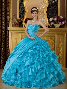 Sweetheart Ruffled Quinceanera Dresses Gowns Appliques and Ruches