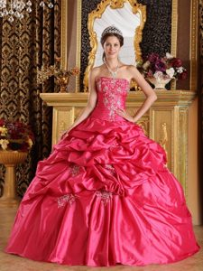 Trendy Strapless Ruching Sweet 16 Dresses with Appliques and Pick-ups