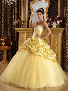 Salvador New Beaded and Ruched Sweet 15 Dresses Pick-ups in Yellow