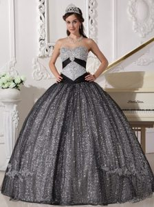 Shimmery Black Ball Gown Sequined Quinceanera Gown Sweetheart