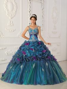 Straps Teal Ball Gown Organza Quinceanera Dress with Chapel Train