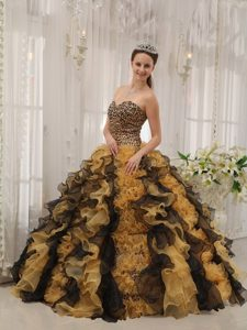 Organza and Leopard Sweetheart Sweet Sixteen Dresses with Ruffles