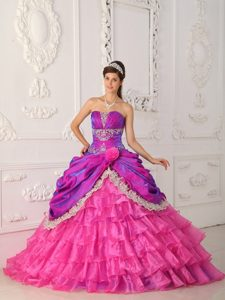 Ruching Hot Pink Ball Gown Lace and Appliques Sweet 16 Dresses