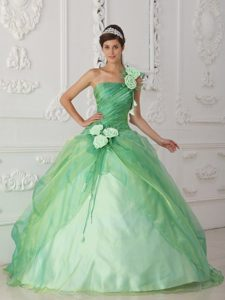 One Shoulder Apple Green Beading Quinceanera Dress with Hand Flower