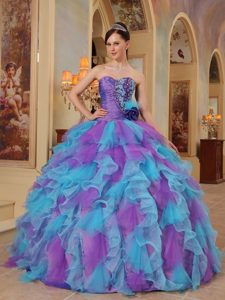Purple and Aqua Blue Sweetheart Ruffles Organza Dresses For a Quince