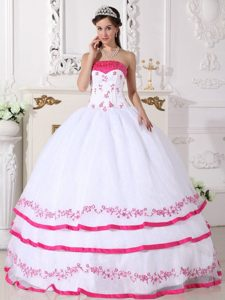 White and Hot Pink Quinceanera Dress with Beading and Embroidery