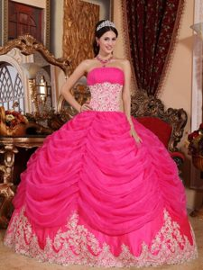 Strapless Hot Pink Ball Gown Organza Quinceanera Dress with Beading