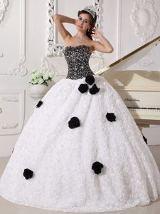 Sequins and Hand Flowers White and Black Strapless Dresses For 15