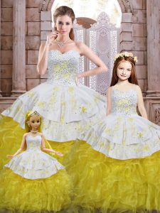 Enchanting Beading and Appliques and Ruffles Quinceanera Gowns Yellow And White Lace Up Sleeveless Floor Length