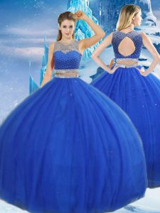 Discount Tulle Scoop Sleeveless Clasp Handle Beading and Sequins Sweet 16 Dresses in Royal Blue