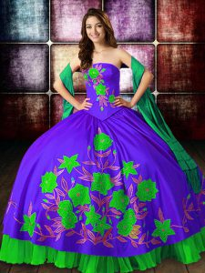Dynamic Floor Length Lace Up Quinceanera Gowns Multi-color for Military Ball and Sweet 16 and Quinceanera with Embroidery