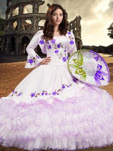 White Long Sleeves Organza Lace Up Sweet 16 Quinceanera Dress for Military Ball and Sweet 16 and Quinceanera