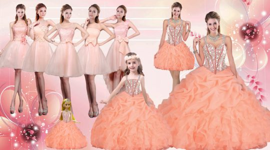Orange Ball Gowns Organza Straps Sleeveless Beading and Ruffles Floor Length Lace Up Vestidos de Quinceanera
