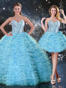 Elegant Aqua Blue Tulle Lace Up Quince Ball Gowns Sleeveless Floor Length Beading and Ruffled Layers