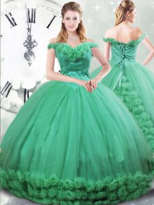 Sleeveless Hand Made Flower Lace Up Quinceanera Gowns with Turquoise Brush Train