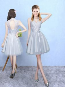 Extravagant Silver Sleeveless Lace Knee Length Court Dresses for Sweet 16