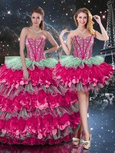 Multi-color Lace Up Quinceanera Dresses Beading and Ruffles and Ruffled Layers Sleeveless Floor Length