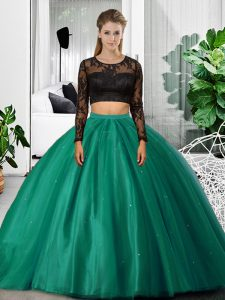 Long Sleeves Lace and Ruching Backless Quinceanera Dresses