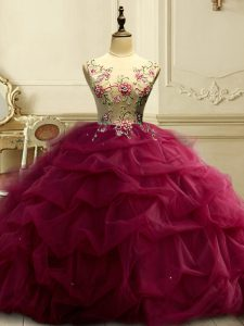 Exquisite Burgundy Sleeveless Floor Length Appliques and Ruffles and Sequins Lace Up Sweet 16 Dress