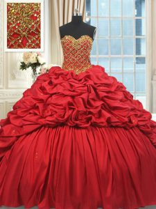 Sweetheart Sleeveless Brush Train Lace Up Sweet 16 Quinceanera Dress Red Taffeta