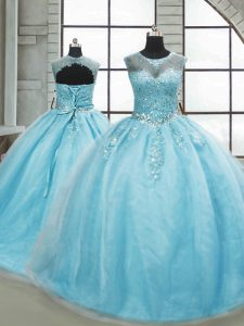 Ball Gowns Sleeveless Aqua Blue Sweet 16 Quinceanera Dress Brush Train Lace Up