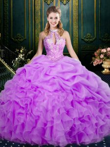 Lilac Ball Gowns Beading and Ruffles and Pick Ups Quinceanera Dress Lace Up Organza Sleeveless Floor Length