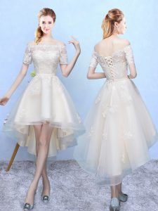 Admirable White Off The Shoulder Lace Up Appliques Court Dresses for Sweet 16 Sleeveless