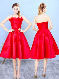 Knee Length A-line Sleeveless Red Quinceanera Dama Dress Lace Up