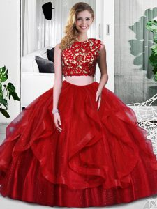 Fine Wine Red Quince Ball Gowns Military Ball and Sweet 16 and Quinceanera with Lace and Ruffles Scoop Sleeveless Zipper