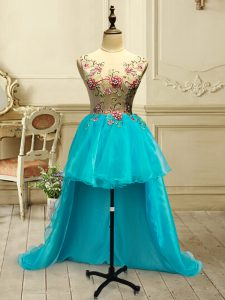 Sweet Baby Blue Ball Gowns Embroidery Lace Up Organza Sleeveless High Low